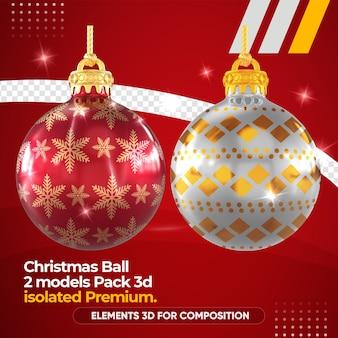 Weihnachtskugel für komposition im 3d-rendering-modell