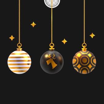 Weihnachtskugeln mit sternen. 3d-rendering