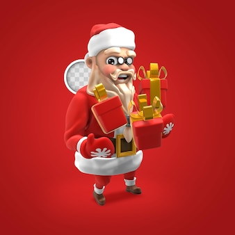 Weihnachtsmann, der geschenke hält. 3d-rendering.