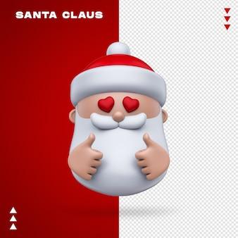 Weihnachtsmann emoji im 3d-rendering