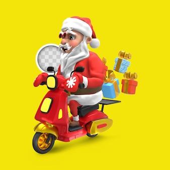 Weihnachtsmann mit lieferfahrzeug. 3d-rendering