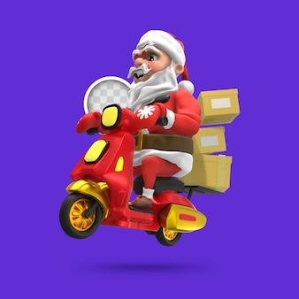 Weihnachtsmann mit schneller lieferung. 3d-rendering