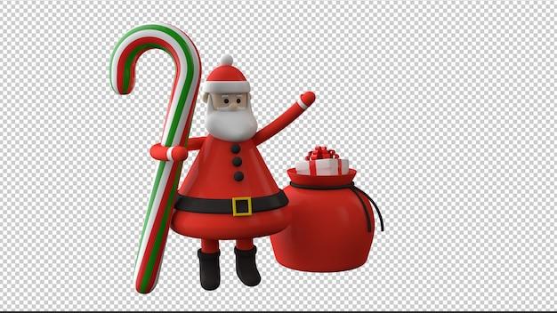 Weihnachtsmann mit weihnachtsbonbon isolierte 3d illustration