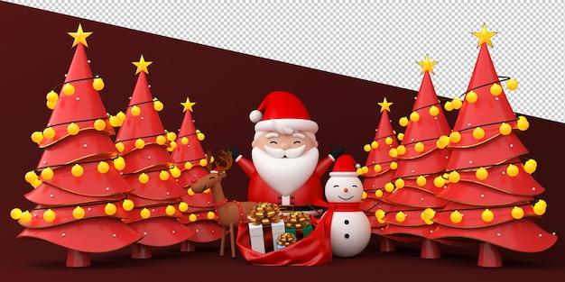 Weihnachtsmann, rentier und schneemannillustration