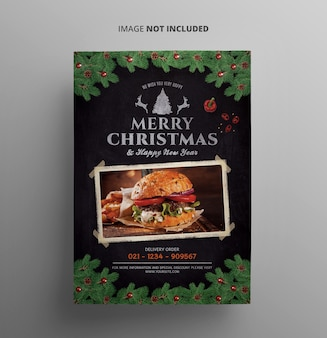 Weihnachtsmenü flyer vorlage
