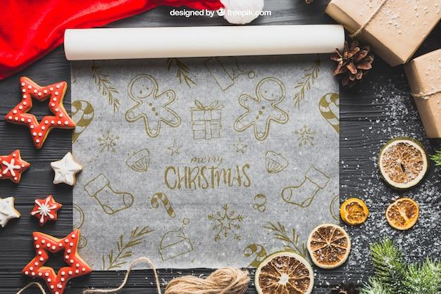Weihnachtsmodell mit backpapier