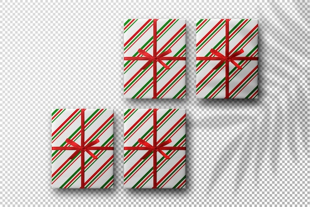 Weihnachtsmodell mit geschenkboxen mit palmblattschatten