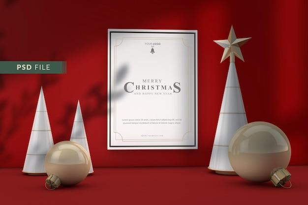 Weihnachtsmodellrahmen mit weihnachtsdekoration und rotem hintergrund