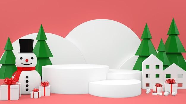Weihnachtspastellmodellpodestanzeige des geschenkbox-schneemanns