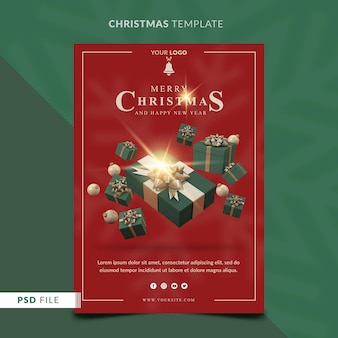 Weihnachtsplakatschablone mit 3d-geschenkbox und weihnachtskugeln