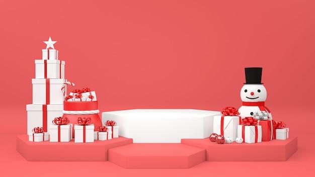 Weihnachtspodest mit schneemannsockel und geschenken