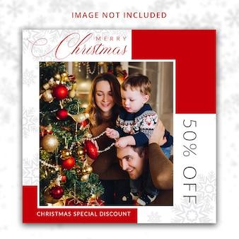 Weihnachtsrabatt-angebotsvorlage für social media
