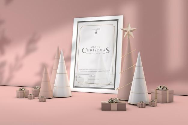 Weihnachtsrahmendekoration mit goldener rosenfarbe der luxuszusammensetzung