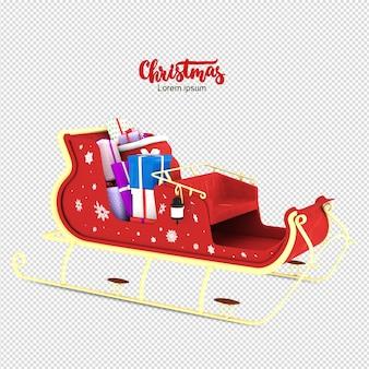 Weihnachtsrikscha im 3d-rendering isoliert
