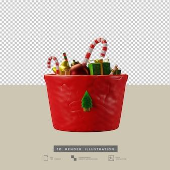 Weihnachtsschale mit zuckerstange und geschenkbox 3d-darstellung
