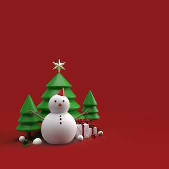Weihnachtsschneemannspielzeug mit bäumen im 3d-rendering