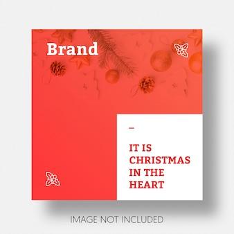 Weihnachtssocial media beitrag schablone instagram