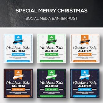 Weihnachtssocial media-fahnenpfosten