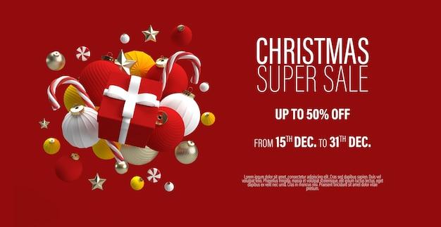 Weihnachtsverkauf banner vorlage mit einem geschenk in einem zentrum und weihnachtsspielzeug