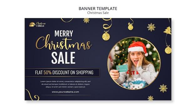 Weihnachtsverkaufsbanner-vorlage mit goldenen details