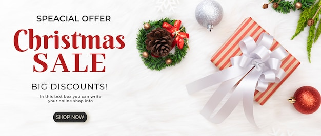 Weihnachtsverkaufsfahne mit rabattschablone