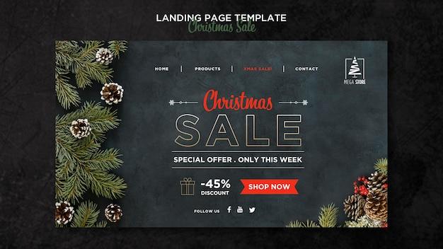 Weihnachtsverkaufskonzept landingpage vorlage