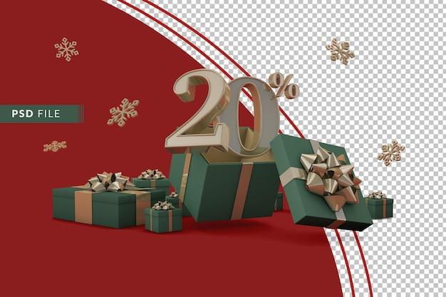 Weihnachtsverkaufskonzept mit 20 prozent rabatt auf werbegeschenkboxen