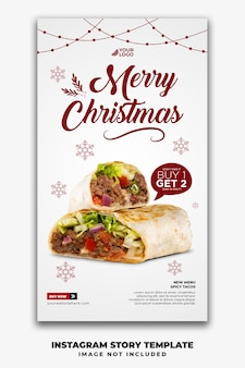 Weihnachtsvorlage social media geschichten für restaurant fastfood-menü