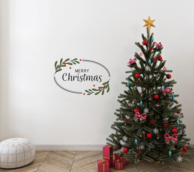 Weihnachtswohnzimmer mit modellwand