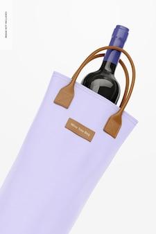 Wein-einkaufstasche mockup, nahaufnahme
