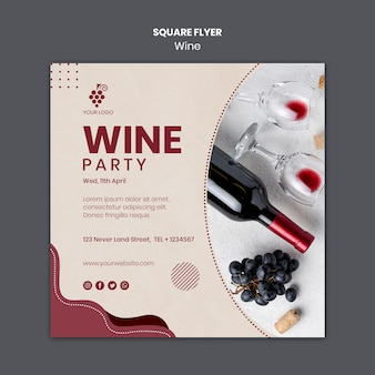 Wein konzept quadratische flyer vorlage