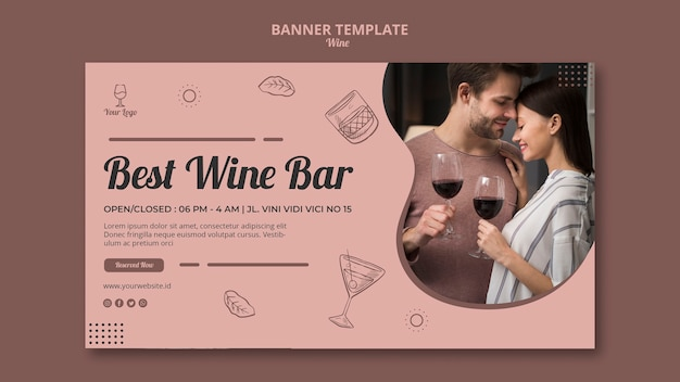 Weinbannerkonzept für vorlage