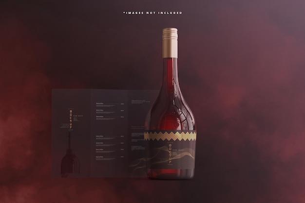 Weinflasche mit broschüre oder menümodell