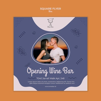 Weinladen quadratische flyer vorlage