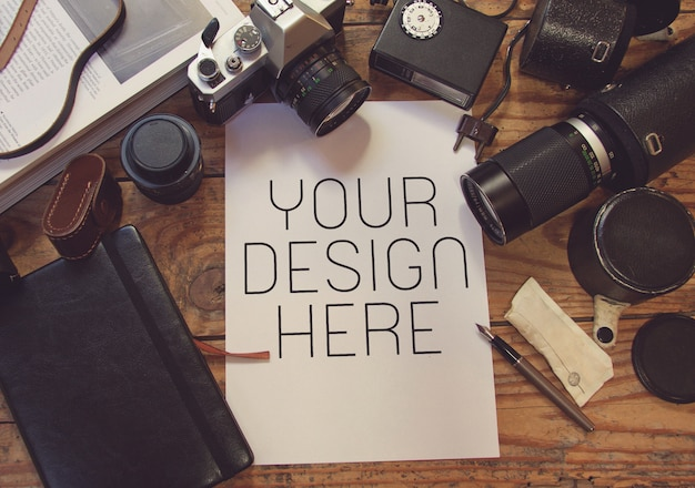 Weinlese-fotografie-studio-szene mit papiermodell