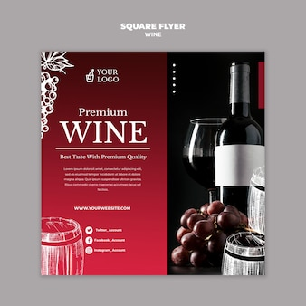 Weinprobe im quadratischen flyer-stil