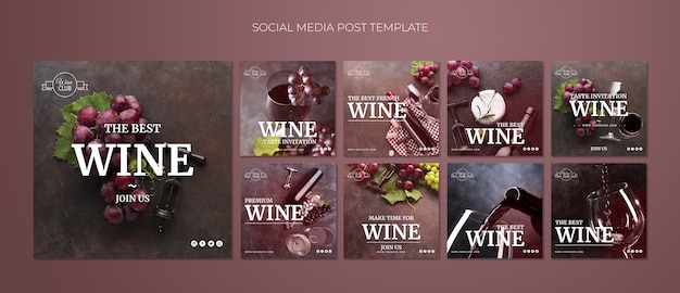 Weinprobe social media post vorlage