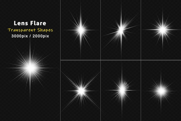 Weiß leuchtende realistische lens flare-kollektion