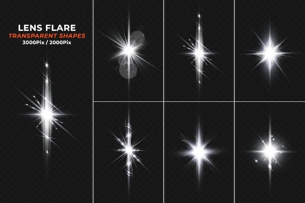 Weiß leuchtendes transparentes licht sparkle lens flare set