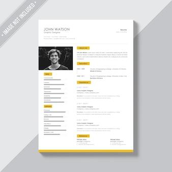 Weiße cv vorlage mit gelben details