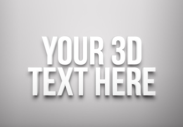 Weiße extrudierte texteffektschablone