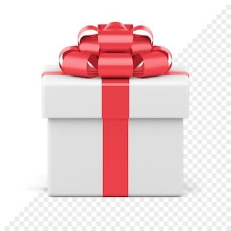 Weiße festliche geschenkbox mit roter glänzender schleife, isoliert auf weiss. kreatives paket mit band und luxuriösem knoten. geschenküberraschung für neujahrs- und feiertagsereignisse. objekt zum verkauf banner oder grußkarte.