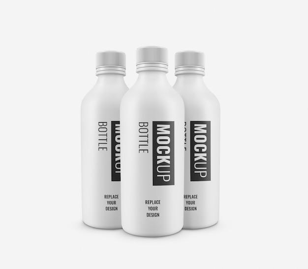 Weiße flasche werbung modell realistisch