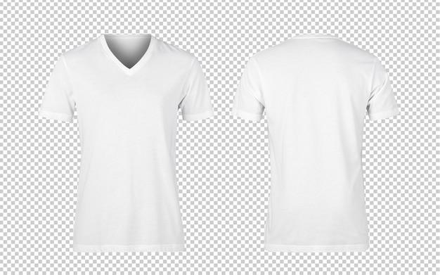 Weiße frau v-nect t-shirts vorder- und rückseite modell