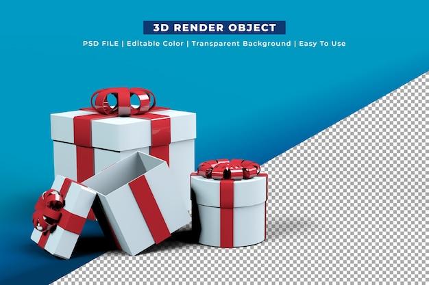 Weiße geschenkbox mit roter schleife