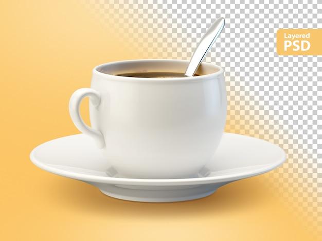 Weiße kaffeetasse mit löffel
