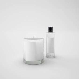 Weiße kerze und parfümflasche