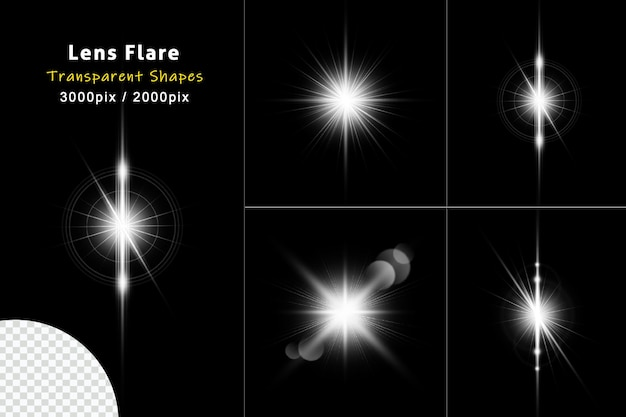 Weiße lens flare kollektion