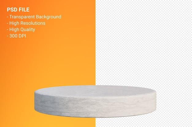 Weiße minimale marmor-podest-darstellung isoliert