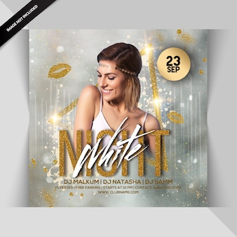 Weiße nacht party flyer